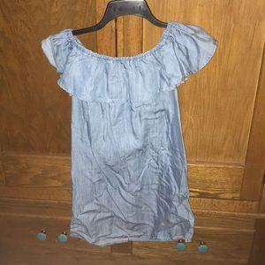Lulus XS shoulder ruffle jean patter dress